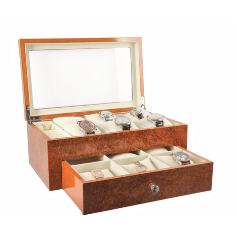 AXIS® 11 Watch Storage Case Display Box Burl Wood Gents