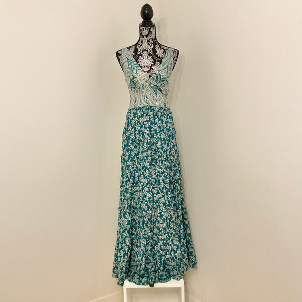 Recycled Sari Carmen Dress - Teal with Paisley Bodice Print
