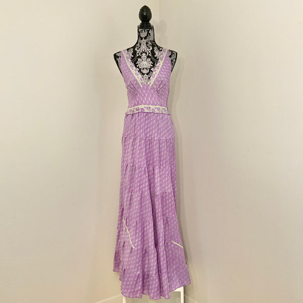 Recycled Sari Carmen Dress - Lilac Floral