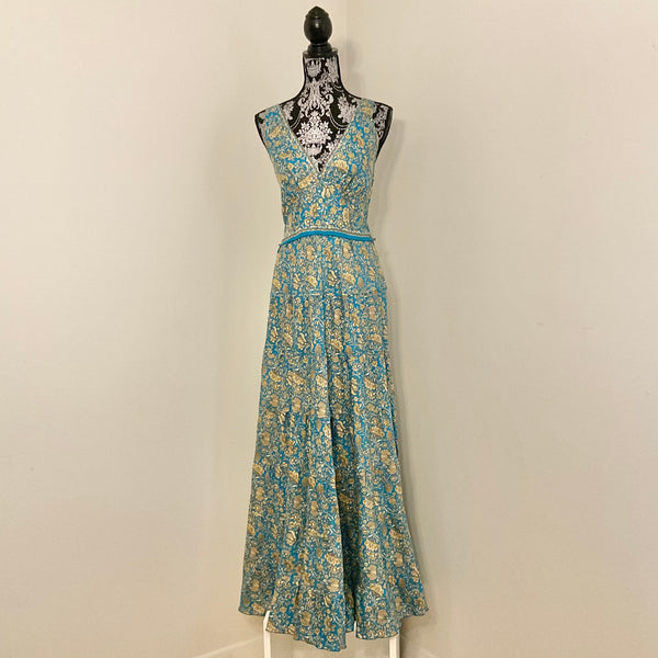 Recycled Sari Carmen Dress - Sky Blue with Gold Floral Print
