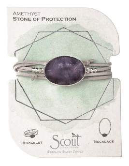 Suede/Stone Wrap - Amethyst / Silver / Stone of Protection