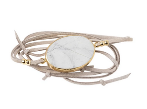 Suede/Stone Wrap - Howlite / Gold / Stone of Harmony