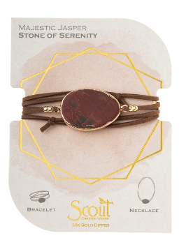 Suede/Stone Wrap - Majestic Jasper / Gold / Stone of Serenity