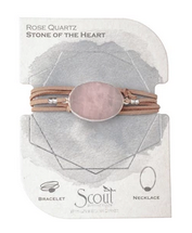 Suede/Stone Wrap - Rose Quartz / Silver / Stone of the Heart