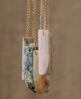 Stone Point Necklace - Amazonite / Stone of Courage