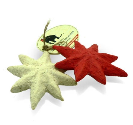 Elephant POOPOOPAPER™ Ornaments - Stars (Red+White) - Set of 2