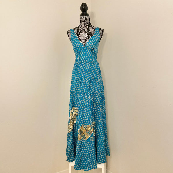 Recycled Sari Carmen Dress - Azure with Gold Accents