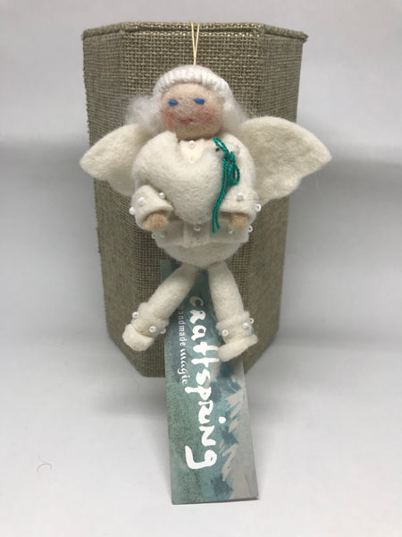 Rosy Cheeked Angel with Dove Felt Ornament