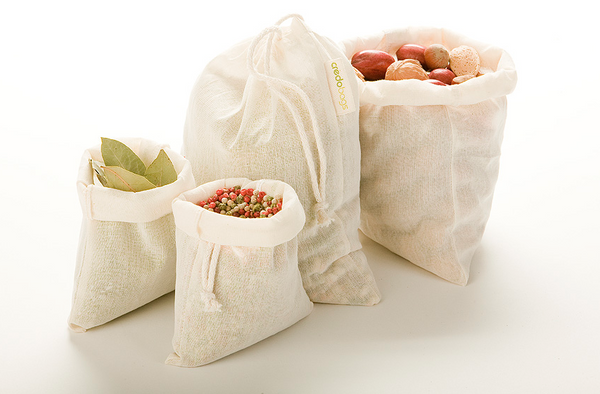 Bulk Bag Combo Set of 4, 100% Organic Cotton (2 x S, 2 x M)