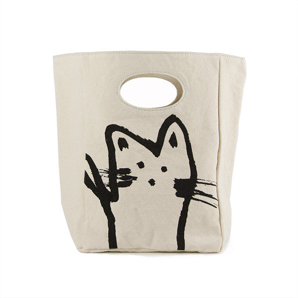 "100% Organic Cotton Lunch Bag ""Hey Cat"""