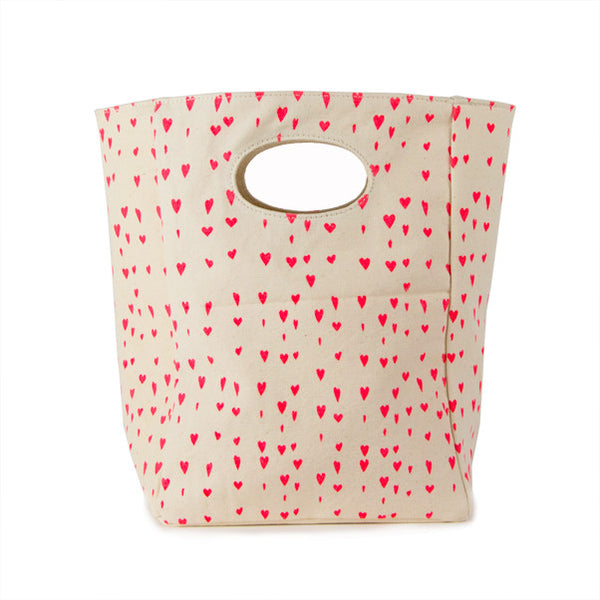 "100% Organic Cotton Lunch Bag ""Floating Hearts"""