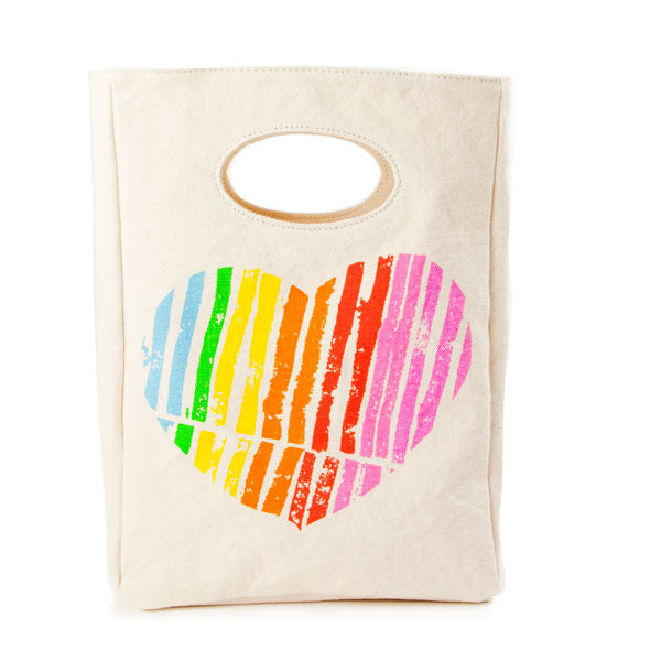 "100% Organic Cotton Lunch Bag ""I Heart You"""