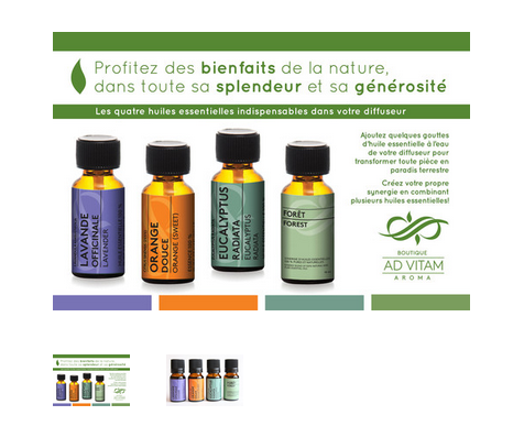 "SET OF 4 PURE ESSENTIAL OILS ""INDISPENSABLE"""