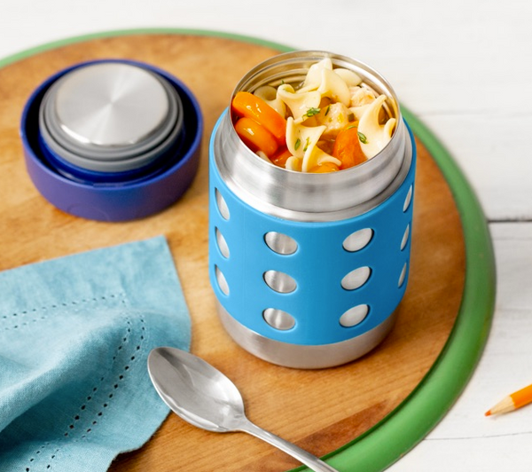 Stainless Steel Insulated Food Container, 12 oz, Aqua Dots