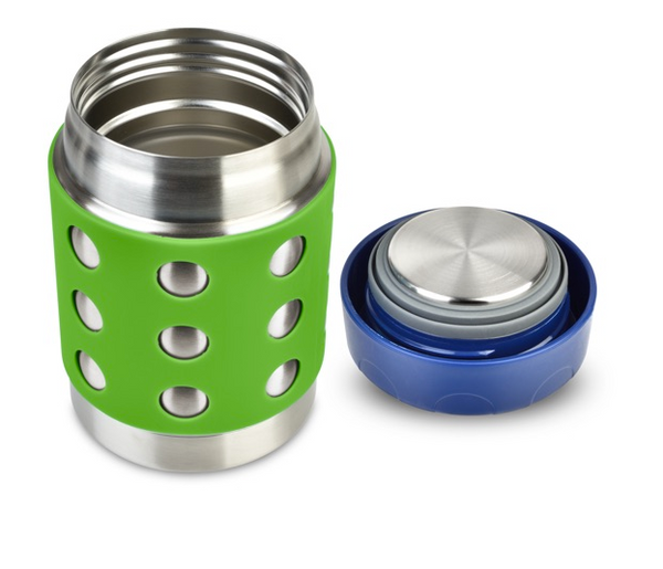 Stainless Steel Insulated Food Container, 12 oz, Green Dots