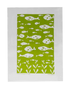 Linen Towel, Green Bottle Fish