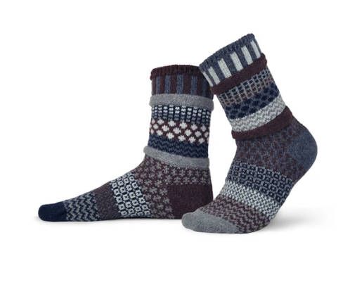 Wool Mahogany Adult Crew Socks