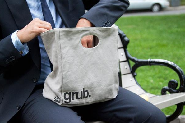 "100% Organic Cotton Big Lunch Bag ""GRUB"""