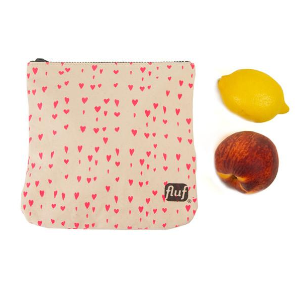 "100% Organic Cotton Zip Pouch ""Pink Hearts"""