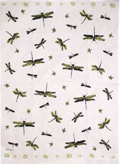 Linen Towel, Green Dragonfly
