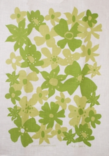Linen Towel, Flower Green