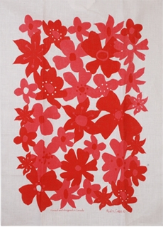 Linen Towel, Flower Red