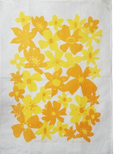 Linen Towel, Flower Yellow