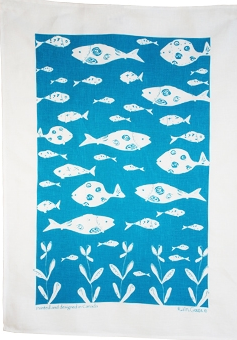 Linen Towel, Turquoise Bottle Fish