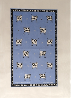 Linen Towel, Blue Cow