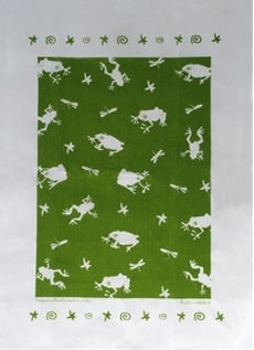 Linen Towel, Green Frog