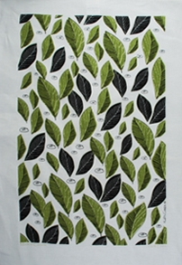 Linen Towel, Green Leaves
