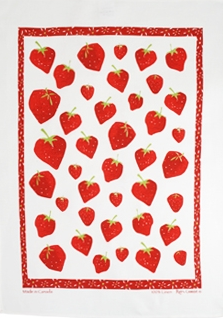 Linen Towel, Strawberry