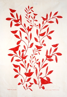 Linen Towel, White & Red Bird in Tree