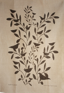 Linen Towel, Bird In Tree Black