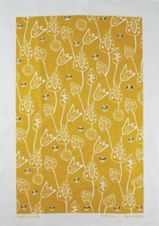 Linen Towel, Bees Yellow