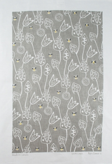 Linen Towel, Bee Grey