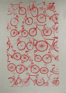 Linen Towel, Bike Red