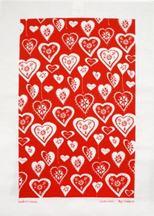 Linen Towel, Heart Balloons Red