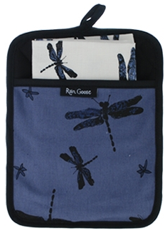 Pocket Pot Holder Set (1 Pot Holder, 1 Tea Towel) Dragonfly Blue