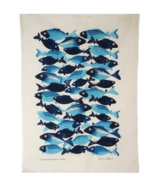 Linen Towel, School Fish Turquoise