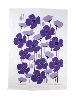 Linen Towel, Purple Poppy