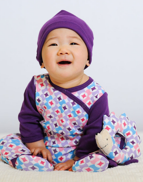 Baby Side Snap Footie - Plum Prism Print