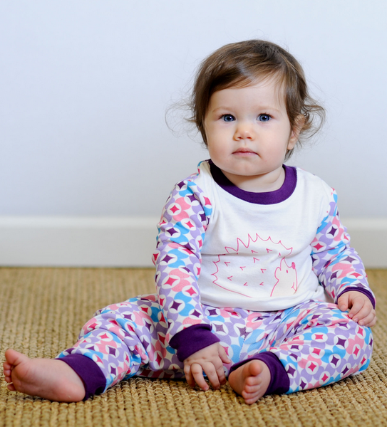 Baby & Kids Long Johns - Prism Print Plum