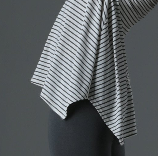 "Bamboo ""Breathe"" Long Sleeve Swing Top - Cream Stripe"