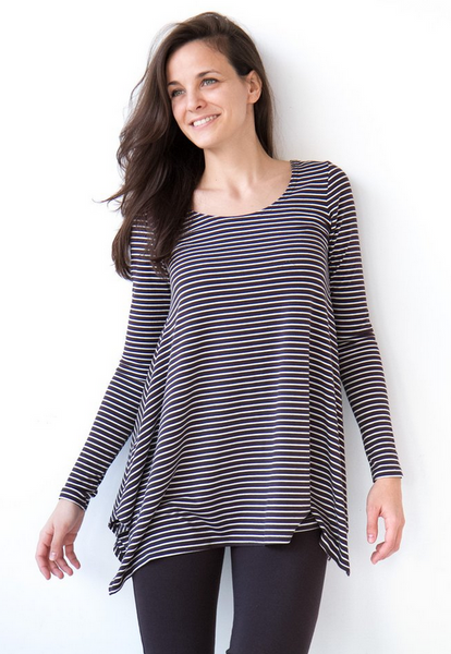 "Bamboo ""Breathe"" Long Sleeve Swing Top - Charcoal Stripe"