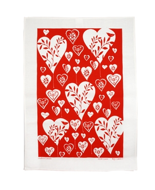 Linen Towel, White Hearts Red