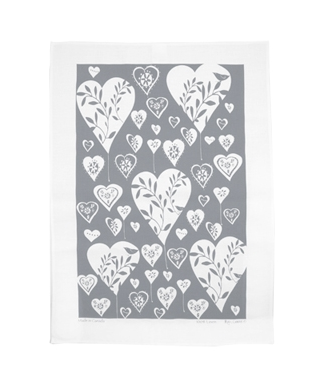 Linen Towel, White Hearts Grey