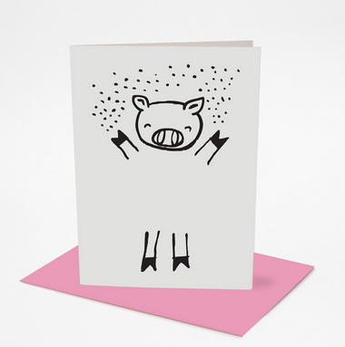 Dress Up Pig Greeting Card