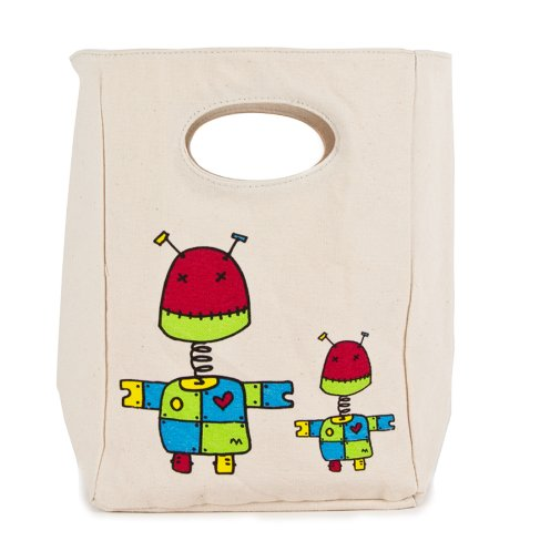 "100% Organic Cotton Lunch Bag ""Robot"""