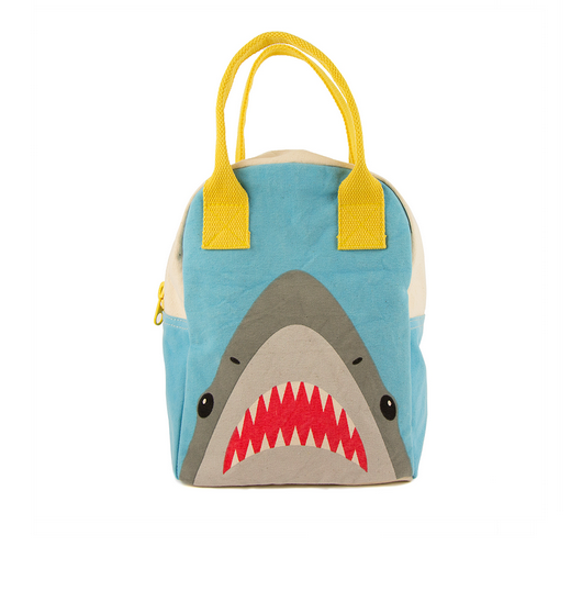 "100% Organic Cotton Zippered Lunch Bag ""Shark"""